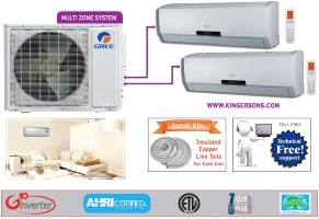 Gree Dual Zone MULTI18HP230V1AO NEO09HP230V1AH (TWO) SEER 16 Ductless System