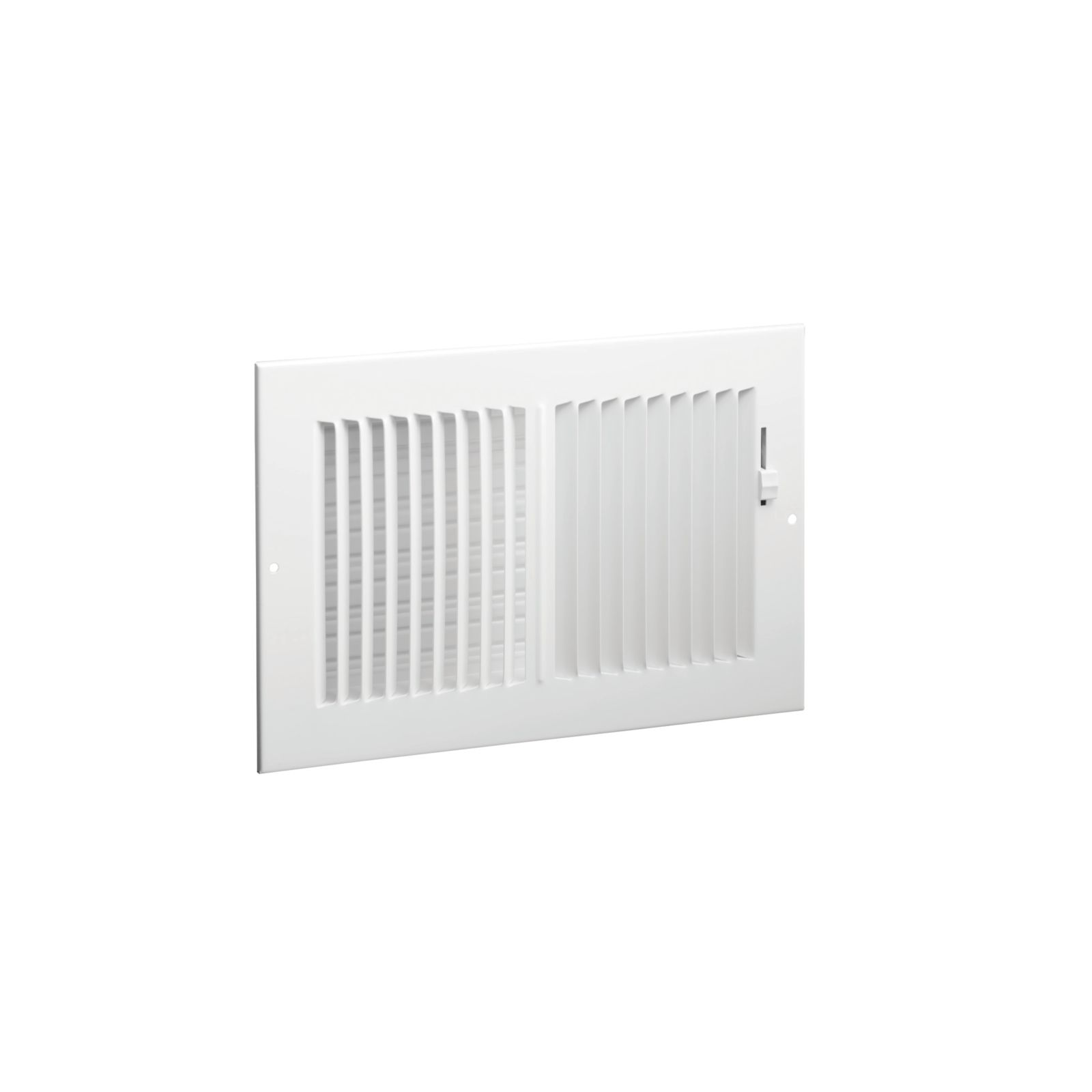 "Hart & Cooley 043829 - #682 Steel 2-Way Sidewall/Ceiling Register, Multi-Shutter Damper with Plastic Handle, White, 10"" X 6"""