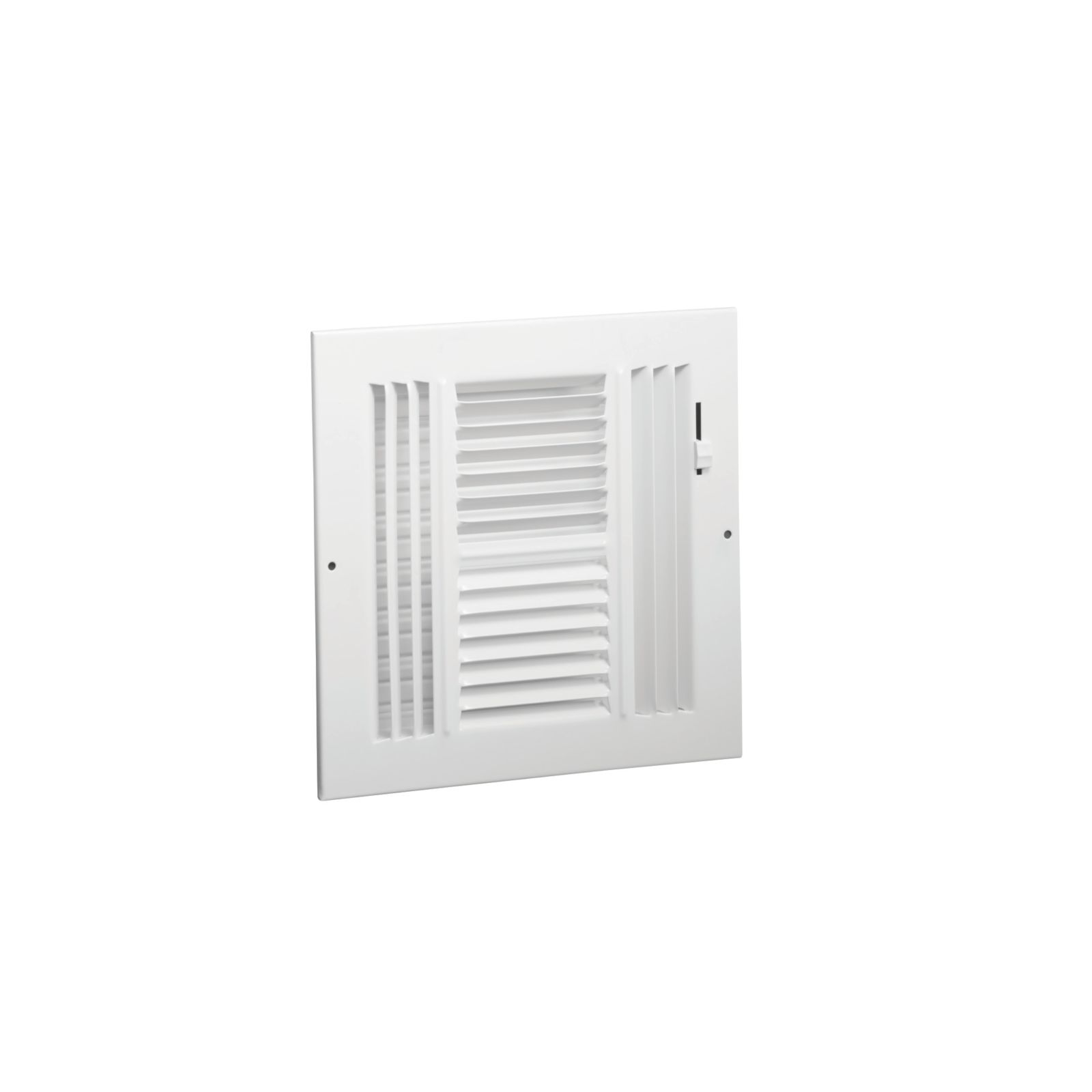 "Hart & Cooley 043889 - #684 Steel 4-Way Sidewall/Ceiling Register, Multi-Shutter Damper, Plastic Handle, White, 6"" X 6"""