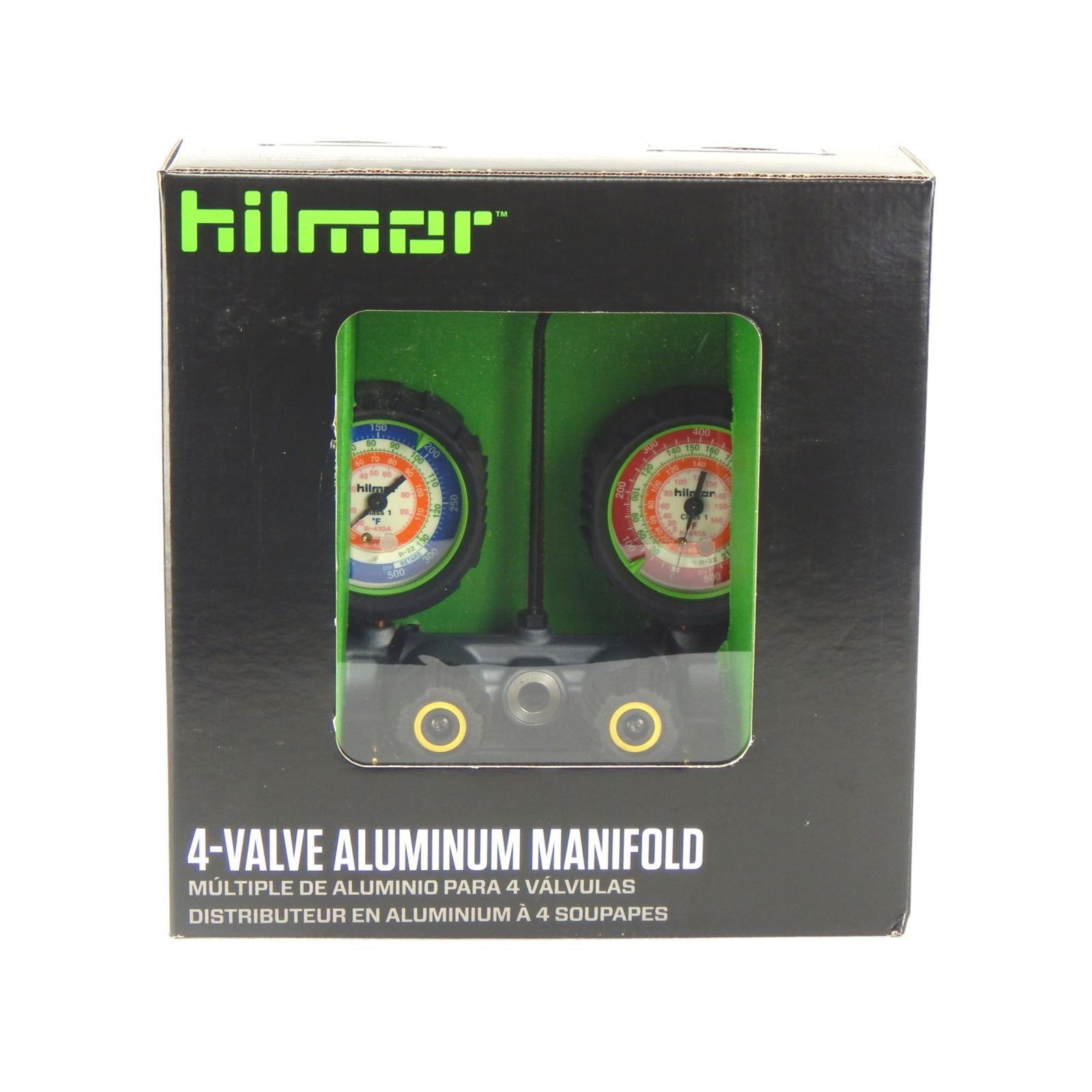 hilmor 1839132 - 4 Valve Aluminum Manifold For R22, R404 & R410A, Plastic Backed