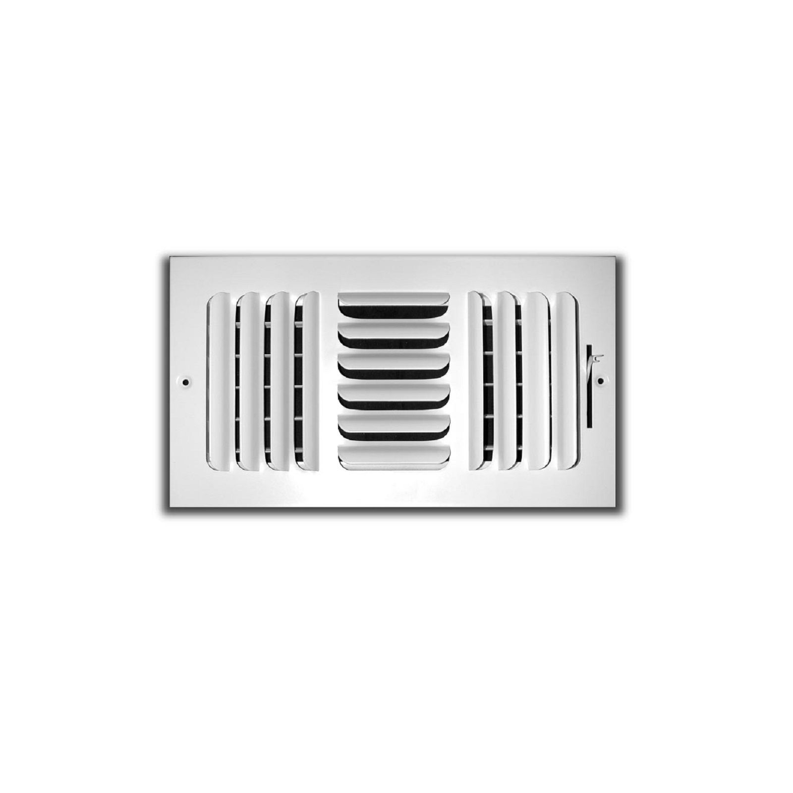 "TRUaire 403M 10X10 - Fixed Curved Blade Wall/Ceiling Register With Multi Shutter Damper, 3-Way, White, 10"" X 10"""