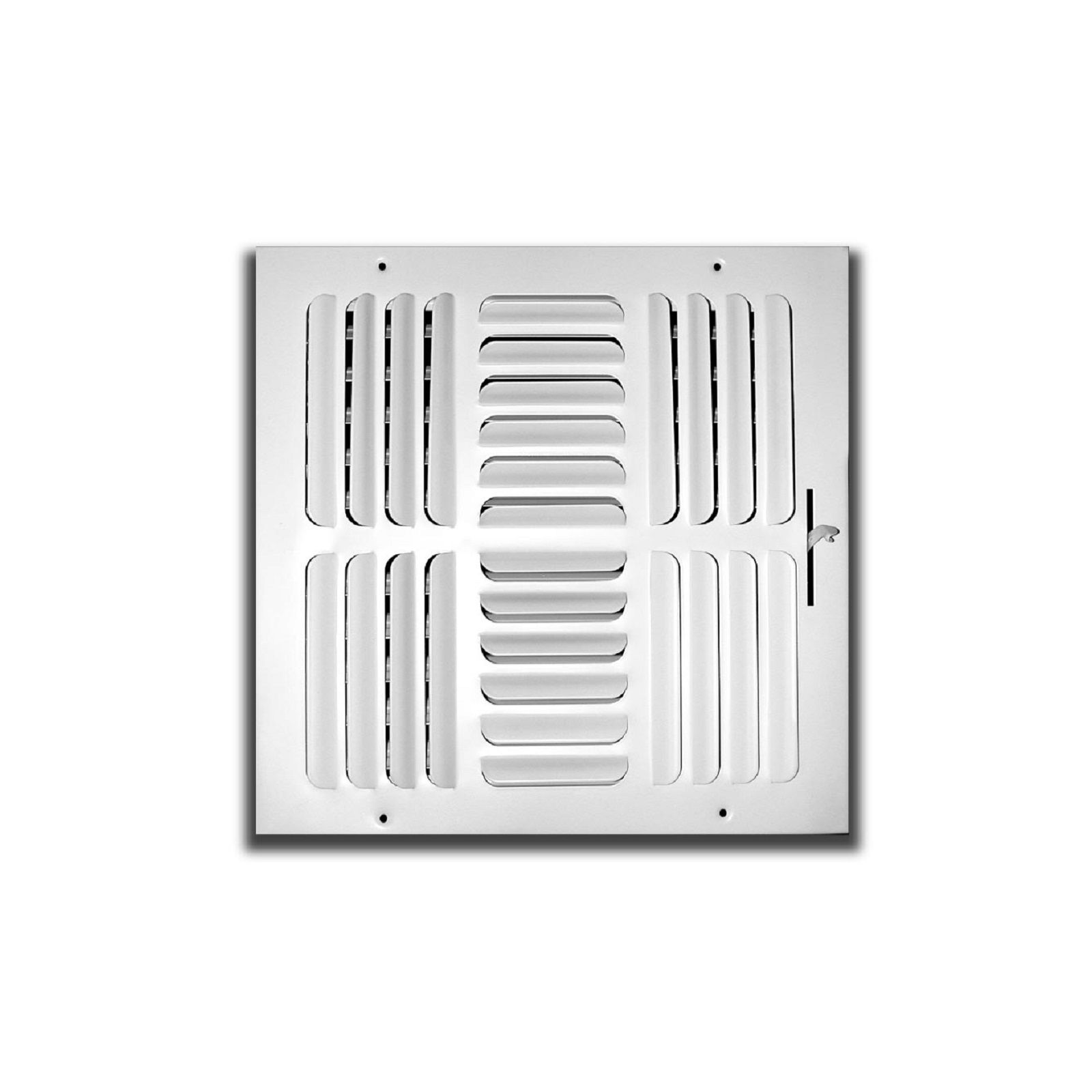 "TRUaire 404M 12X12 - Fixed Curved Blade Wall/Ceiling Register With Multi Shutter Damper, 4-Way, White, 12"" X 12"""