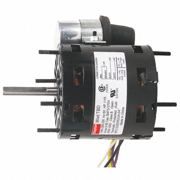 DAYTON 1/15 HP, HVAC Motor, Permanent Split Capacitor, 1550 Nameplate RPM, 115 Voltage, Frame 3.3