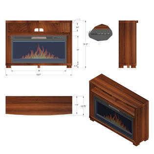 AKDY 44' Freestanding Electric Fireplace Brown Wooden Mantel 3D Flames Remote & Crystals