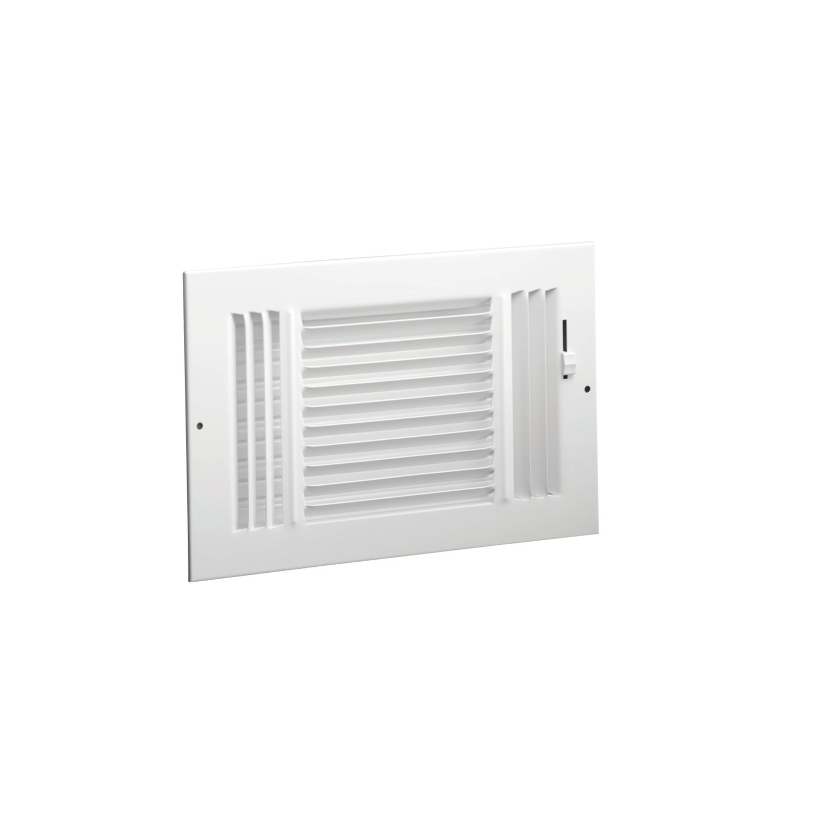 "Hart & Cooley 703925 - #683M Steel 3-Way Sidewall/Ceiling Register, Multi-Shutter Damper with Metal Handle, White, 14"" X 6"""