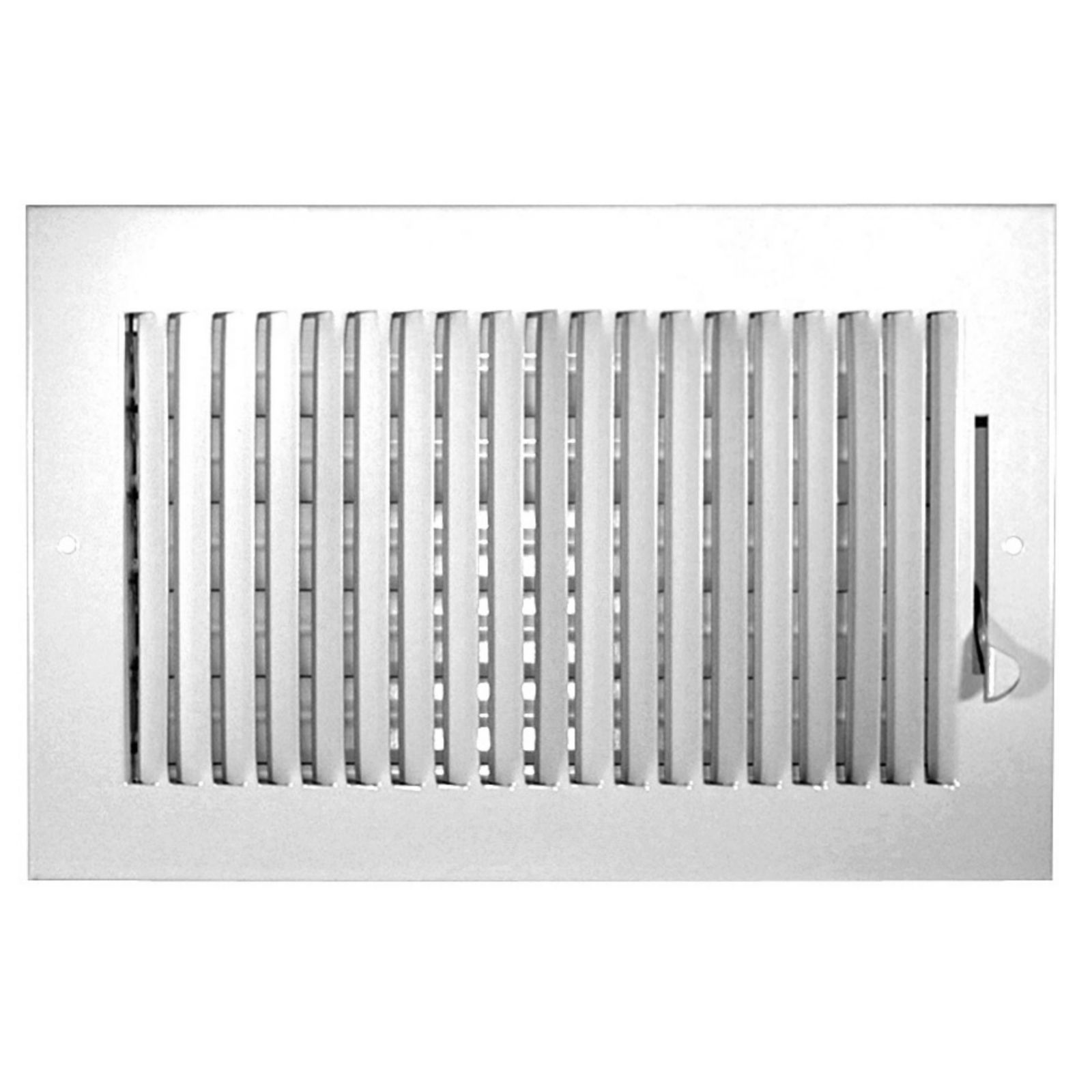 "Grille Tech SW1W10X06 - Steel Sidewall Air Register 1-Way, 10"" X 6"" White"
