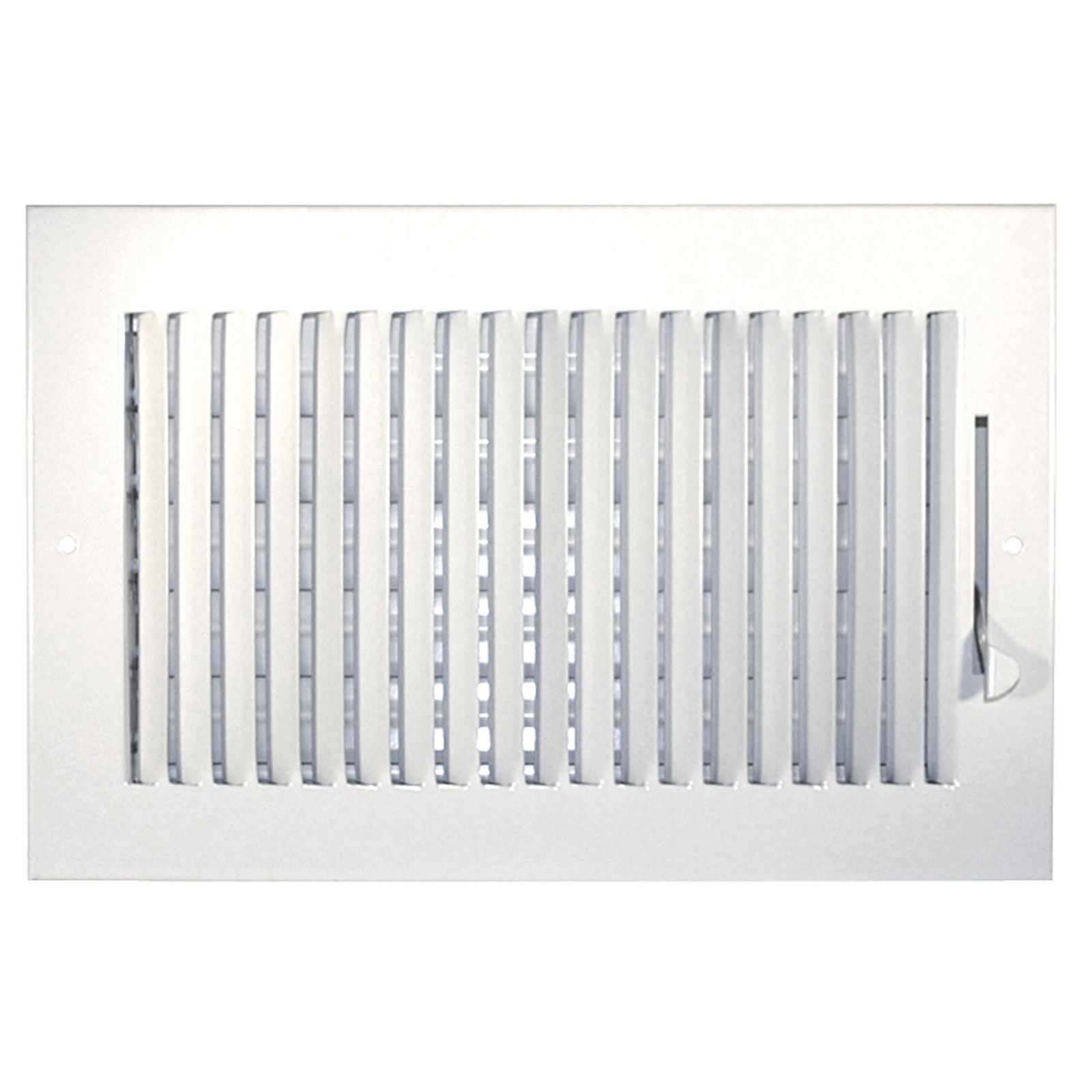 "Grille Tech SW1W12X8 - Steel Sidewall Air Register 1-Way 12"" X 8"" White"